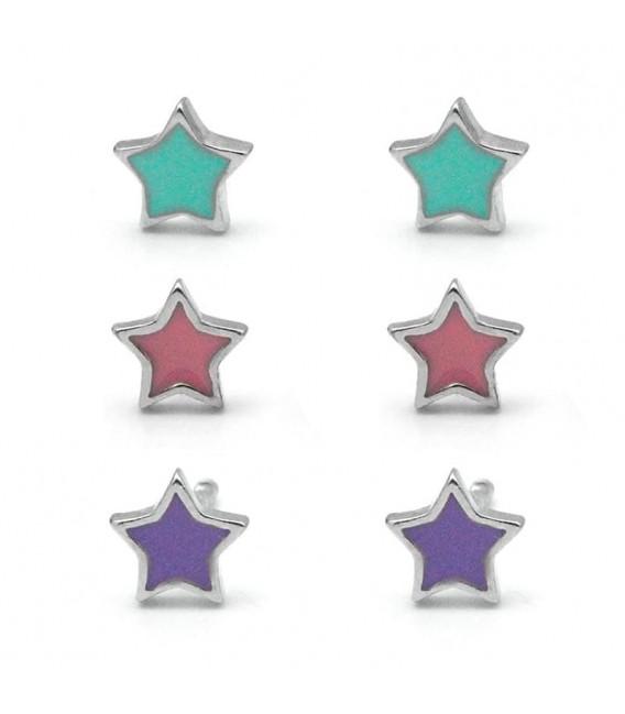 Pendientes Estrellas de Colores para Niña o Bebé de Plata
