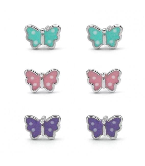 Pendientes Mariposa de Colores para Niña o Bebé de Plata