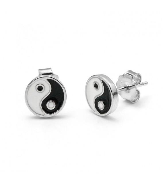 Pendientes Yin Yang con Nacar en Plata