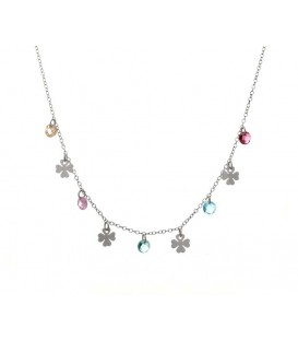 Collar Mini Trébol con Cristales de Colores en Plata