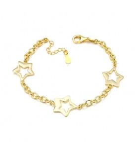 Pulsera Tres Estrellas Baño de Oro en Plata