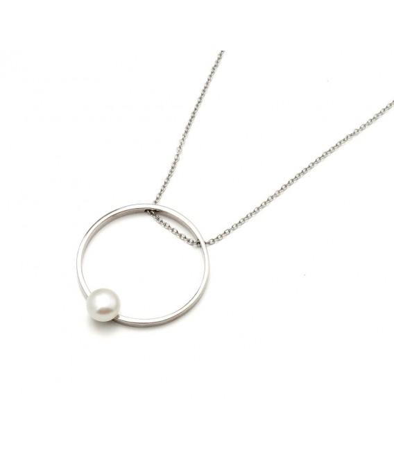 Colgante Circular Perla en Plata