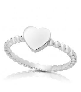 Anillo Bolitas con Corazón en Plata