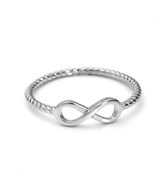 Anillo Espiral con Infinito en Plata