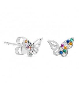Pendientes Mariposa Circonitas de Colores en Plata