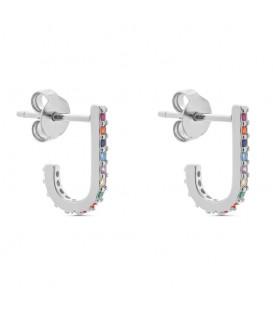 Aros Cristales de Colores en Plata