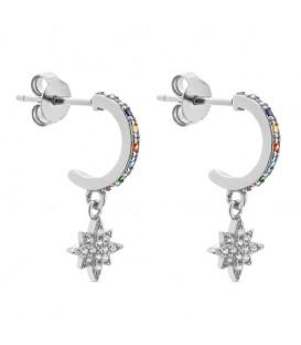 Aros Estrella Polar Cristales de Colores en Plata