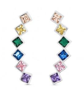 Trepadores Cristales de Colores Cuadrado en Plata