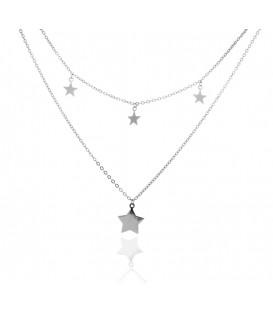 Colgante Doble Mini Estrellas en Plata