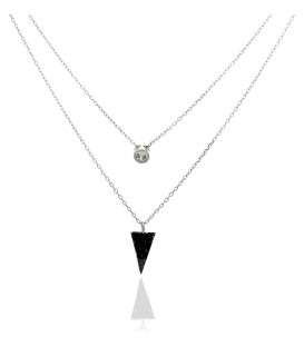 Colgante Doble Triángulo Negro con Chatón en Plata