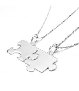 Dos Colgante Puzzle en Plata