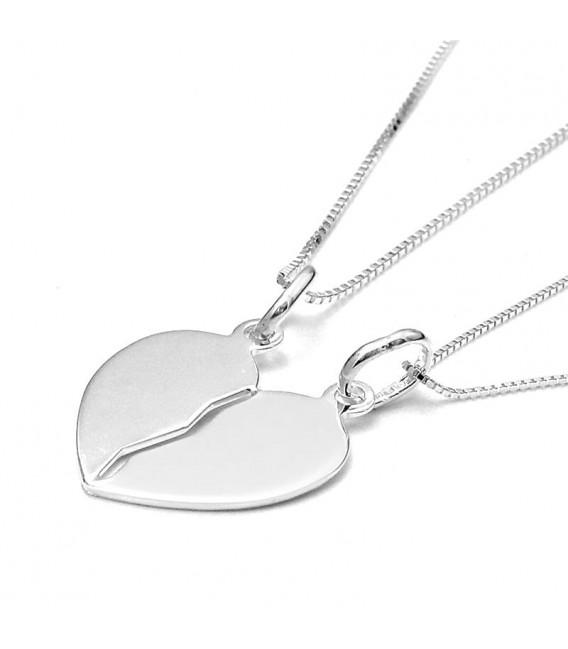 Dos Colgante Corazón Partido en Plata