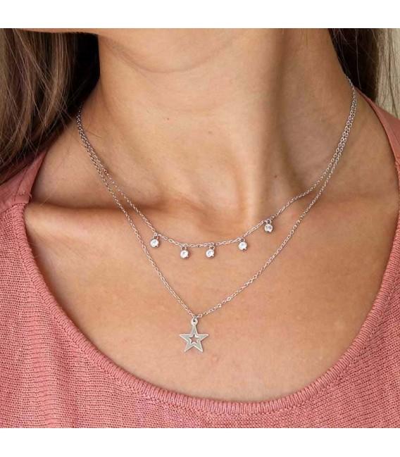 Colgante Doble Estrella Chatones en Plata