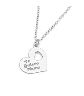 Colgante Te quiero Mamá Corazón en Plata