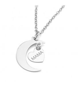 Colgante Luna Corazón Mamá, Plata de ley